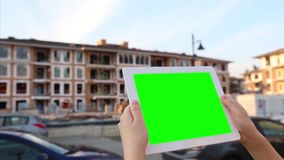 Blank, car, chatting, chroma key, close up, color, computer, construction, demonstration, empty, exterior, green, greenscreen, han stock footage