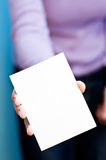 Blank card. Woman holds blank card in her hand. copy space for your text Stock Photos