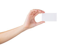Blank card. Female hand with a blank card isolated on white Stock Images