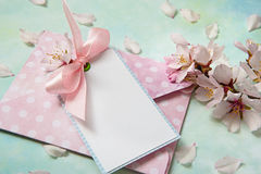 Blank card among almond flowers on light blue background stock image