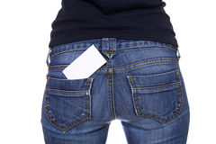 Blank card in back jeans pocket Royalty Free Stock Photo