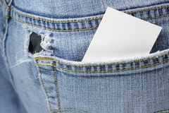 Blank card in back pocket Stock Photos