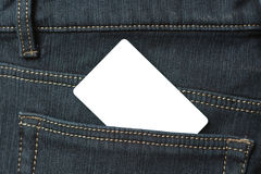Blank card in the back pocket of jeans Stock Photography