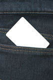 Blank card in the back pocket of jeans Stock Photos