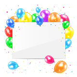 Blank card with balloons. Blank card with colored balloons and confetti on white background, illustration Stock Image