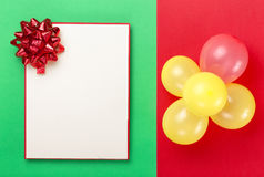 Blank card with balloons on colorful background