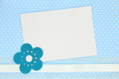Blank card on blue polka Royalty Free Stock Images