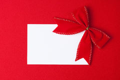 Blank card with bow Royalty Free Stock Photo