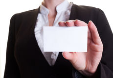 Blank card. Businesswoman holding visiting card blank Royalty Free Stock Images