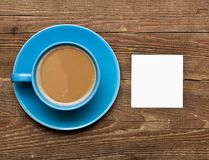 Blank card on coffee cup Stock Image