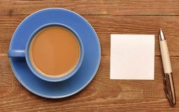 Blank card on coffee cup Stock Photography