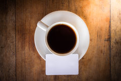 Blank card with coffee cup Royalty Free Stock Images