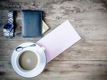 Blank card with coffee cup with space for your data Stock Images