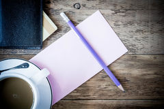 Blank card with coffee cup with space for your data Royalty Free Stock Image