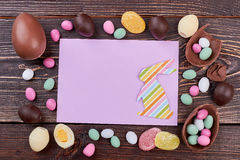 Blank card and colorful sweets. Stock Photography