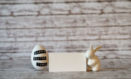 Blank Card with Easter Egg and Rabbit Porcelain Royalty Free Stock Image