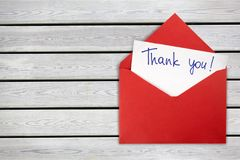 Blank card and envelope with thank you royalty free stock image