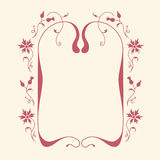 Blank card with floral frame. Stock Photo
