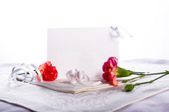 Blank card with flowers Hi key. Blank card with flowers in a high key white background Stock Images