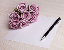 Blank card with flowers Stock Photo