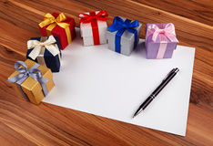 Blank card with gift boxes Stock Image