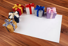 Blank card with gift boxes Stock Photography