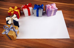 Blank card with gift boxes Royalty Free Stock Photography