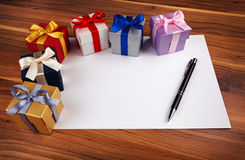 Blank card with gift boxes Royalty Free Stock Photos
