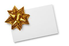 Blank card with golden bow Royalty Free Stock Photos