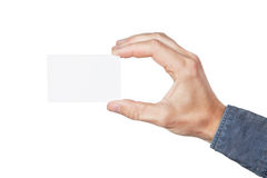 Blank card in hand. Royalty Free Stock Photo