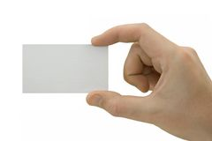Blank card in hand Stock Photography