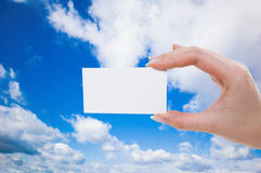Blank card in hand. (abstract photo Royalty Free Stock Images