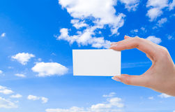 Blank card in hand. (abstract beautiful photo Stock Images