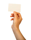 Blank card in hand Royalty Free Stock Photos