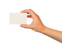 Blank card in hand Stock Photos