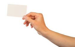 Blank card in hand Royalty Free Stock Photography