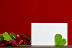 Blank card, heart-shaped leaf and rose petals Stock Image