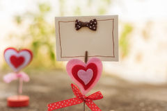 blank card and heart for valentine day concept ,soft focus and b stock photography
