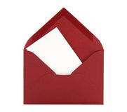 Blank Card In A Red Envelope Royalty Free Stock Photos