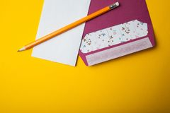 A blank card, an invitation to an event or a wedding. Empty space for text royalty free stock image