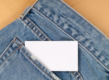 Blank Card in Jean Pocket Royalty Free Stock Photography