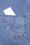 Blank card in jeans pocket. Blank card in blue jeans pocket Stock Images