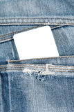 Blank card in jeans pocket Royalty Free Stock Photo