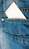 Blank card in jeans pocket Royalty Free Stock Photography
