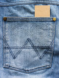 Blank card in a jeans pocket Stock Photos