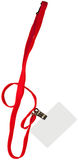 Blank Card On Lanyard. Blank card  with lanyard, isolated on white Royalty Free Stock Photo