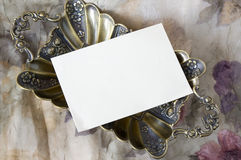 Blank card on luxury tray Royalty Free Stock Images