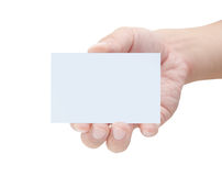 Blank Card in a Male hand Stock Image