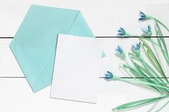 Free Blank Card Mockup, Envelope And Quilling Snowdrops Stock Image - 216036601