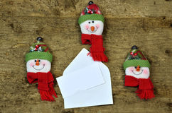 Blank card-note with snowman faces Stock Photos
